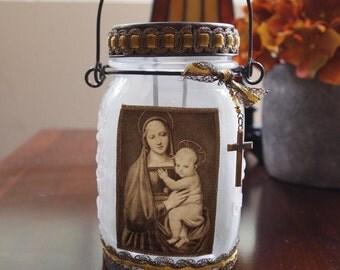 Rustic Mason Jar Votive Lantern w/ Vintage Holy Card Mary and Jesus Catholic Gifts and Decor