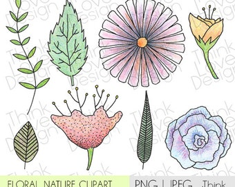 Instant Download - Floral Nature Clip Art Set - Vector, flower, spring, nature, digital files for personal and commercial use