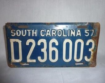 Vintage 1957 South Carolina License Plate NASCAR