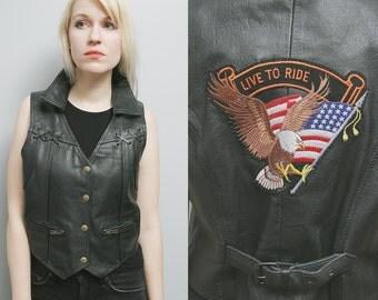 """Sale 40% Off VTG 80's Unisex Black Leather Biker Easyrider Motorcycle Vest """"Live to Ride"""" - L/XL"""