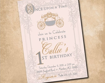 Princess Birthday Invitation vintage carriage printable/Digital File/Vintage Princess Invitation, pink and gold/Wording can be changed