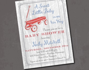Red Wagon Baby Shower Invitation vintage rustic birthday / DIGITAL FILE / printable / wording can be added or changed