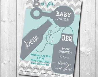 Couples Baby Shower Invitation printable, Co-ed Baby Shower Invitation, Baby Q Invitation/boy, aqua, gray, teal, cookout, bbq, grill
