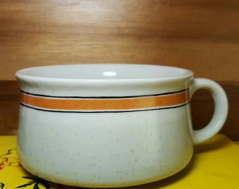 Vintage Speckled Stoneware Mint Green Orange Striped Soup Mug