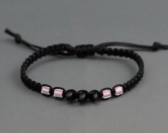 Surfer Bracelet - Beach Bracelet - Macrame Bracelet - Surf Bracelet - Wrap Bracelet - Stacking Bracelet - Adjustable Bracelet - Black
