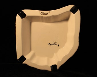 Marietta Ohio Ashtray Vintage Ceramic Ohio Shaped Ashtray