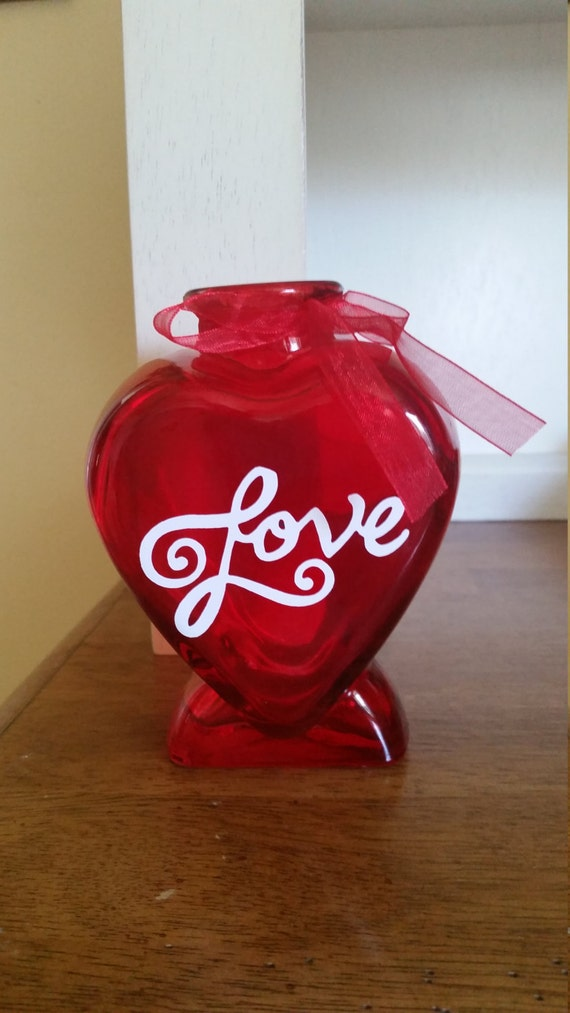 This Adorable Red Glass Heart Shaped Vase Is Decorated With Vinyl And  Ribbon. It Measures 5 Inches Tall And 4 Inches Wide.