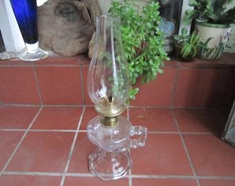 EAPG Oil Lamp Antique Circa 1868 Handled Medium Glass Brass Hurricane Octogon Lighting Home Decor Collectible - HD03