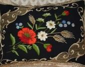 Vintage c.60s Polish Black Pillow/ Black Wool Pillow/ Hand-Embroidered Flowers Pillow/Vintage Decorative Pillow/ Cottage Home Decor & Living