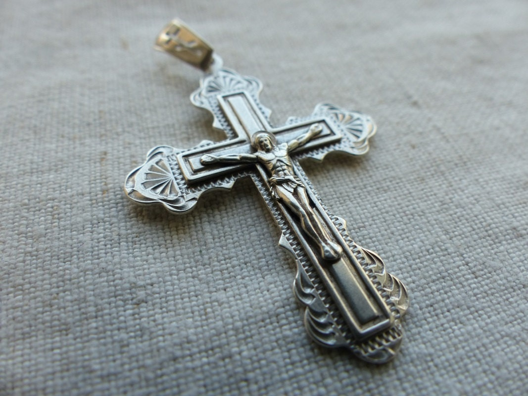 vintage silver russian cross pendant sterling silver 925