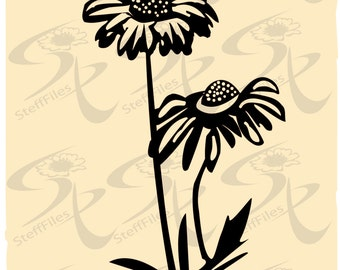 0351_DAISIES Flowers_Vector, Download files,Silhouette, Digital, graphical,SVG,DXF, AI, png, eps, jpg