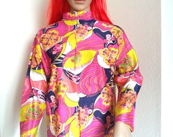 1960s MOD PSYCHEDELIC Op Art Tunic Top/Blouse OS