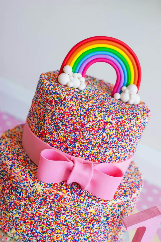 Pastel Rainbow Cake Topper