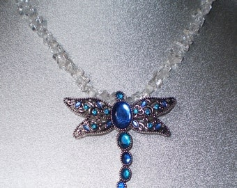 Dragonfly and Rock CRYSTAL QUARTZ Necklace