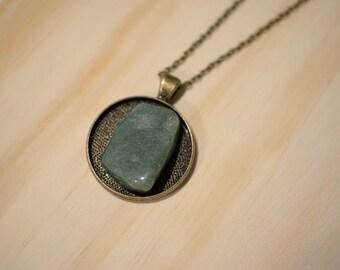 Green Aventurine Crystal Pendant - Brass Necklace