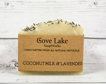 Coconut Milk and Lavender Soap, Handmade, All Natural Cold Process Soap