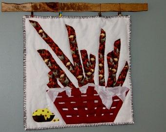 Art Quilt / Chicken Strips Quilt / Fiber art / hand quilt / Wall Art / Wall Hanging