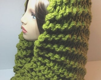 Hooded Mobius Scarves - Avocado, Hand Knit, Wool/Acrylic Blend