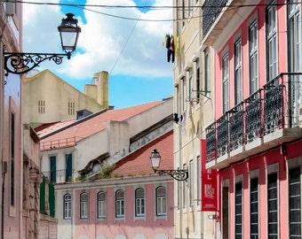 Lisbon Streets, Lisbon, Lisboa, Portugal, Pink, Street Scene, Photography, Fine Art Prints, Travel Photography, Wall Art
