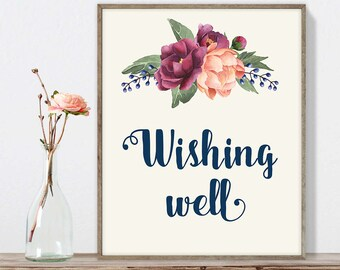 Wishing Well Sign DIY, Wedding Wishes Sign / Burgundy Peony Berry Bouquet, Peach Blush Pink Ranunculus, Fall Wedding ▷ Instant Download JPEG