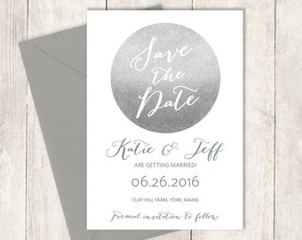 Silver Save The Date / Sparkle Glitter Circle Metallic Silver and Gray / Steel Gray ▷ Printed Wedding Invitations {or} Printable
