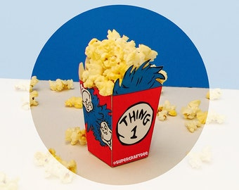 "3"" Thing 1 & Thing 2 Popcorn Box - Birthday Party"