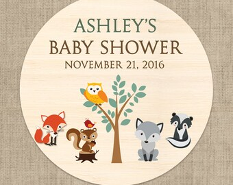 30 Glossy Round Labels - Baby Shower Favor Labels - Baby Shower Stickers - Woodland Favors - Baby Animal Baby Shower Favors
