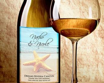 Starfish Wine Labels - Starfish Beach Theme Wedding Favor - Wine Bottle Labels