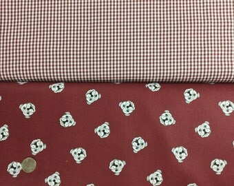 Fabric Finders maroon bulldog head and Maroon gingham check cotton fabric