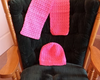 Bright Pink or Blue Hand Crocheted Adult Size Matching Hat & Scarf for Adult, Teen or Older Child