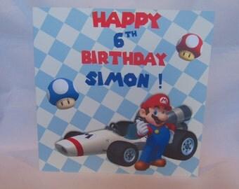 Personalised  Childrens Birthday Card- Mario Kart