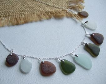 Scottish sea foam green brown sea glass necklace, sea glass necklace, unique gift, green sea glass, sea glass jewelry, mixed colour pendants