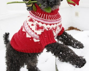 Handmade Dog's valentine sweater / jumper / coat with hearts in 100% soft wool - sizes XS - S - M -L