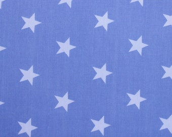 White Stars on Blue Cotton Poplin Fabric , Star Fabric- 100% Cotton Dressmaking and Quilting Fabric - Fat Quarter