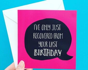 Bestie birthday card, funny friend greeting card