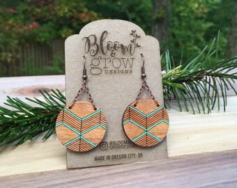 Wooden Earrings - Walk the Line2
