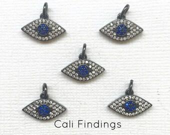 Black Evil Eye Cz Pave Pendant, Blue Evil Eye, Hamsa, Evil Eye Protection, Pave Eye, Evil Eye Charm, Evil Eye Pendant, [1415]
