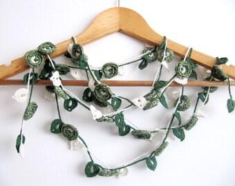 Melange Necklace/Green Crochet Necklace/Flower Necklace /Sale!!Crochet Jewelry/Crochet Scarf/Beaded Necklace/Crochet Hairband/NATURALEZA