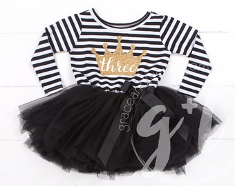 Third Birthday outfit three dress or Black and white with long sleeves, third birthday dress, third birthday outfit, 3rd birthday