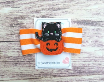 Cat Pumpkin Halloween Hair Bow,  Tuxedo Bow