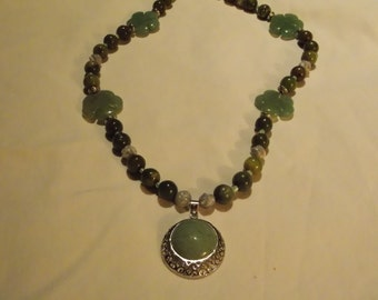 Hand made one of a kind Necklace w/ Jade Flowers