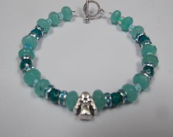 Beaded hand made bracelet w/ Aqua