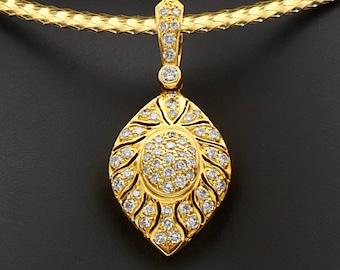 Diamond Pendant made in 18K gold and having 0.71 CT of round VVS-VS diamonds, Diamond Pendant Necklaces, Diamond Pendant for women