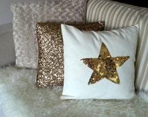 Sequin Star Pillow Gold Sequin Pillow Star Pillow  Sequin Pillow