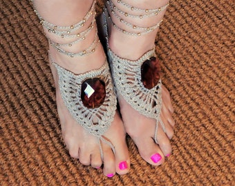 Boho Barefoot Sandals/Crochet Barefoot Lace Sandals with amber/Beach Wedding/Bohemian Jewelry