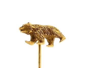 Victorian 18K Yellow Gold Bear Stick Pin
