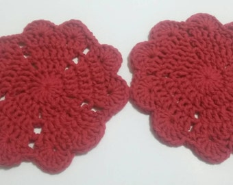Crochet heart cotton coasters / set of 2 coasters / handmade coasters  / red heart coasters/ home decor / table décor