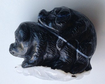 164.00 Whimsical Carving of Two Loving Puppies in Black Jasper