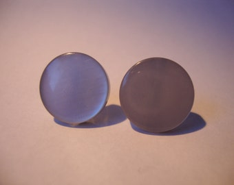 Vintage Pearlescent Blue Button Earrings