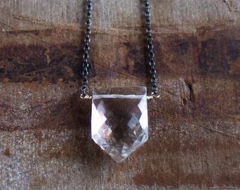 Crystal Quartz Pentagon Necklace, Gold, Silver, Geometric Gemstone Pendant, Clear Rock Quartz Jewellery, Mixed Metal White Stone Necklace